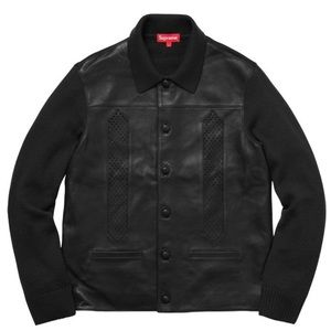NEW Supreme Leather Front Sweater Jacket